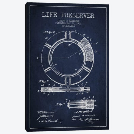 Life Preserver Navy Blue Patent Blueprint Canvas Print #ADP2697} by Aged Pixel Canvas Wall Art