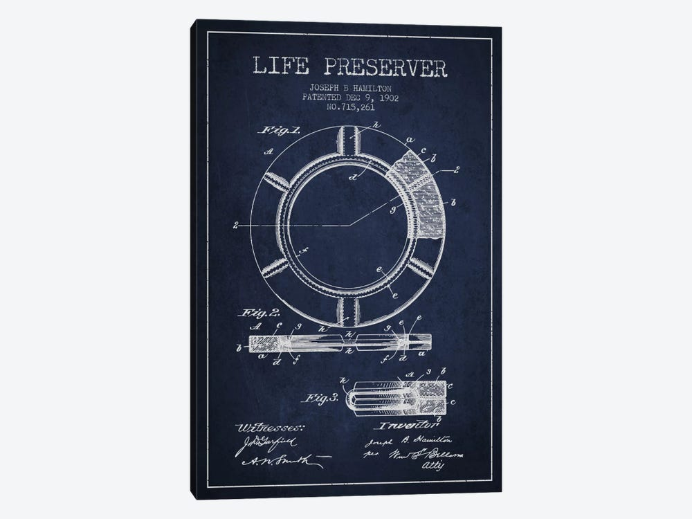 Life Preserver Navy Blue Patent Blueprint by Aged Pixel 1-piece Canvas Artwork