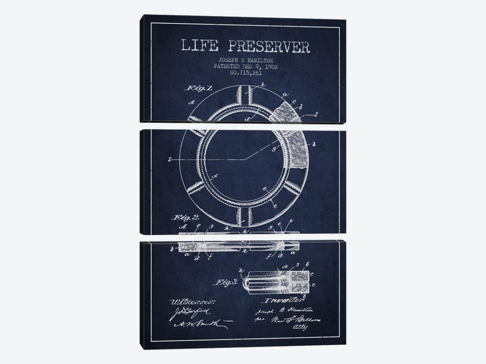 Life Preserver Navy Blue Patent Blueprint by Aged Pixel 3-piece Canvas Wall Art