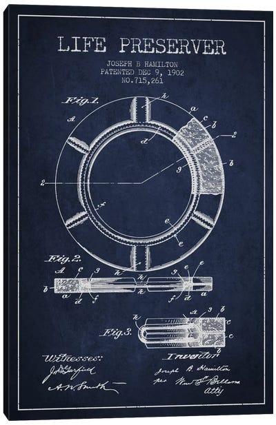Life Preserver Navy Blue Patent Blueprint Canvas Art Print