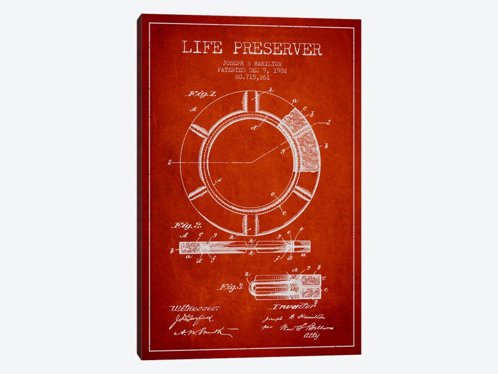 Life Preserver Red Patent Blueprint 1-piece Canvas Print