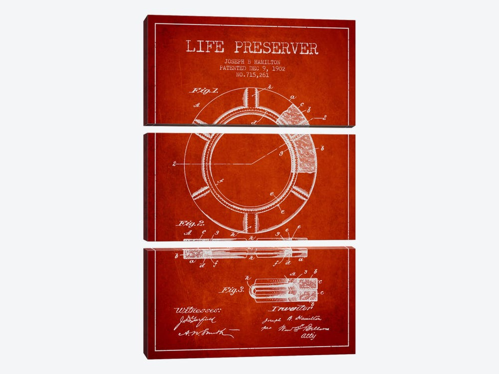 Life Preserver Red Patent Blueprint by Aged Pixel 3-piece Art Print