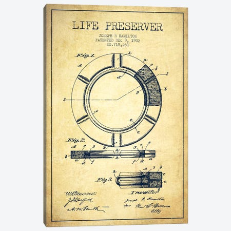 Life Preserver Vintage Patent Blueprint Canvas Print #ADP2699} by Aged Pixel Canvas Art Print