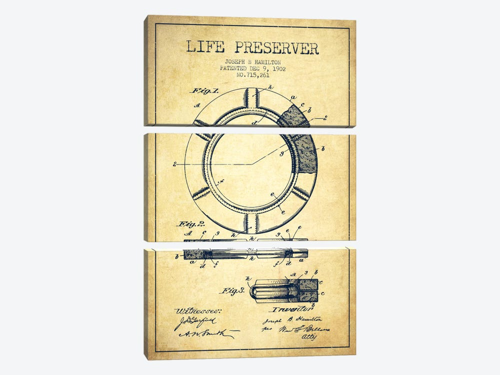 Life Preserver Vintage Patent Blueprint by Aged Pixel 3-piece Canvas Art
