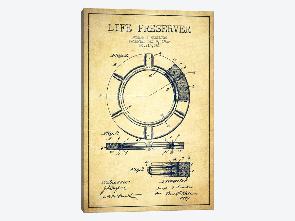 Life Preserver Vintage Patent Blueprint by Aged Pixel 1-piece Canvas Wall Art