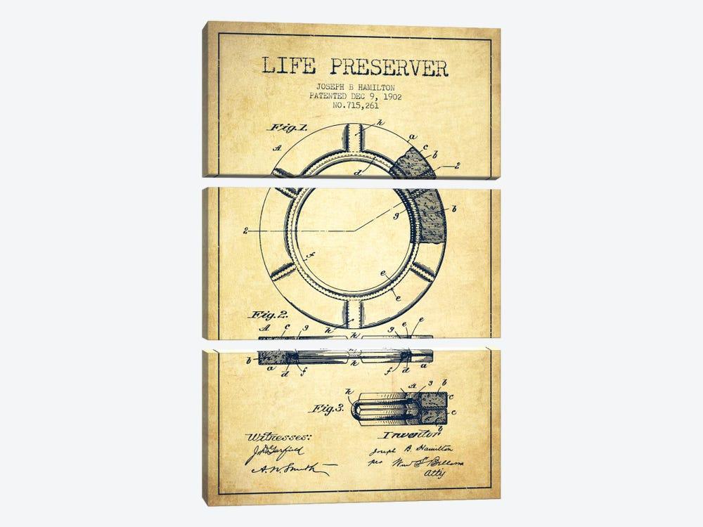 Life Preserver Vintage Patent Blueprint by Aged Pixel 3-piece Canvas Art
