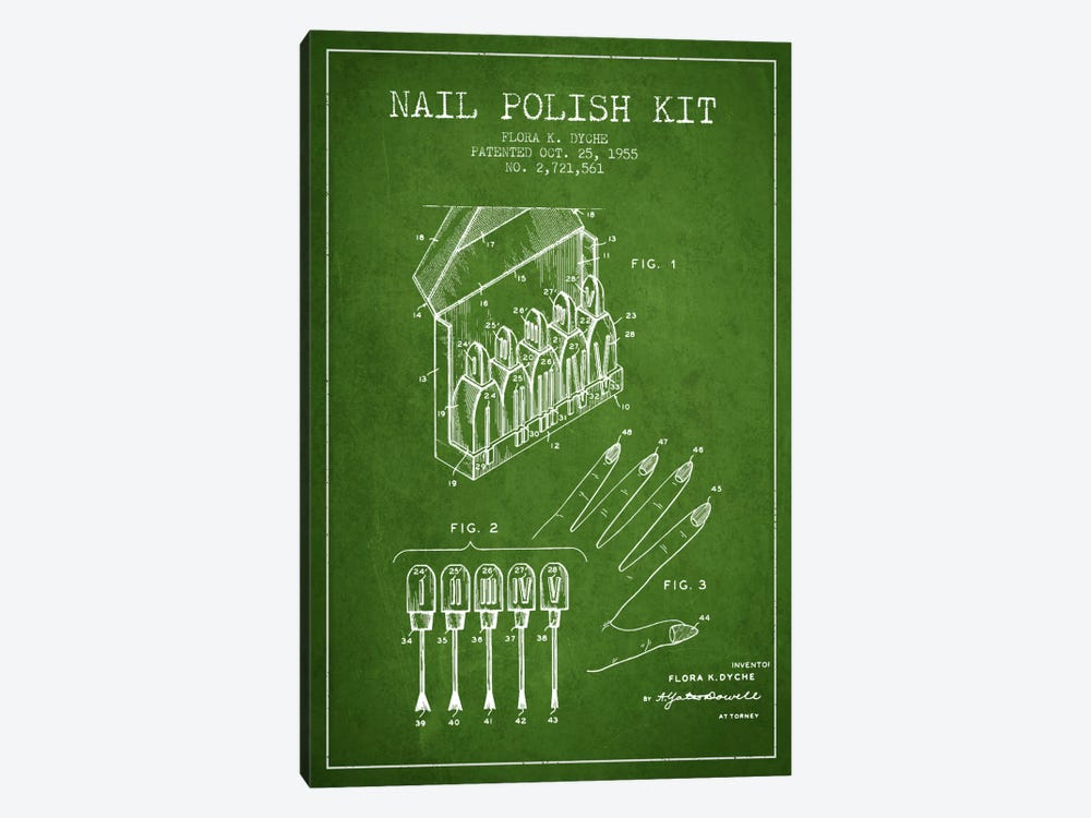 Nail Polish Kit Green Patent Blueprint by Aged Pixel 1-piece Canvas Art Print