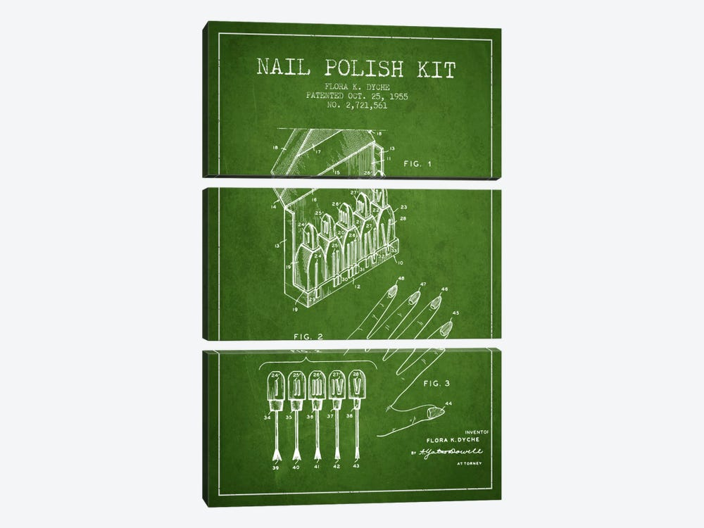 Nail Polish Kit Green Patent Blueprint 3-piece Art Print