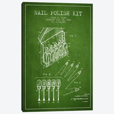 Nail Polish Kit Green Patent Blueprint Canvas Print #ADP269} by Aged Pixel Canvas Art Print