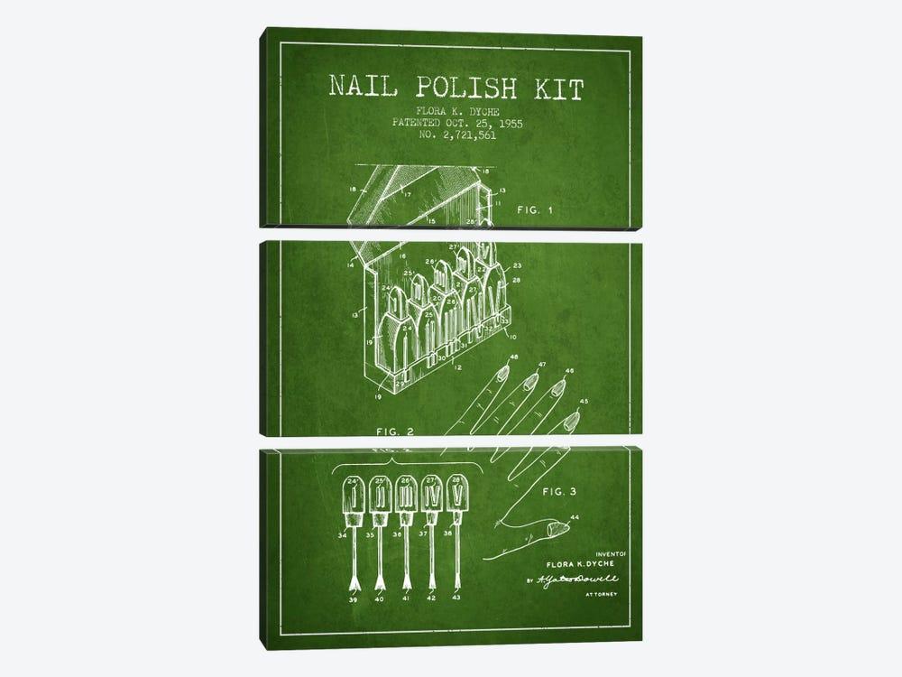 Nail Polish Kit Green Patent Blueprint by Aged Pixel 3-piece Art Print