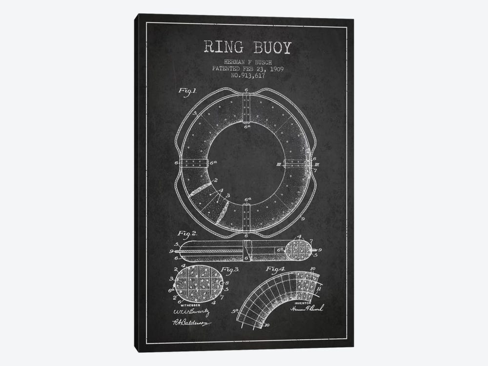Ring Buoy Charcoal Patent Blueprint by Aged Pixel 1-piece Art Print