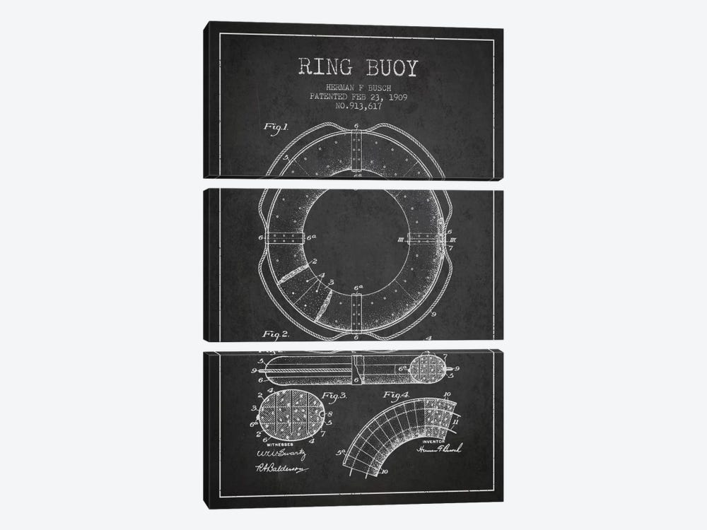 Ring Buoy Charcoal Patent Blueprint by Aged Pixel 3-piece Art Print