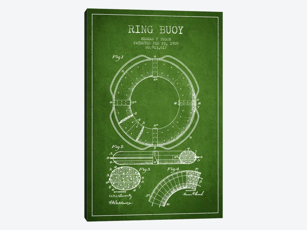 Ring Buoy Green Patent Blueprint by Aged Pixel 1-piece Canvas Artwork