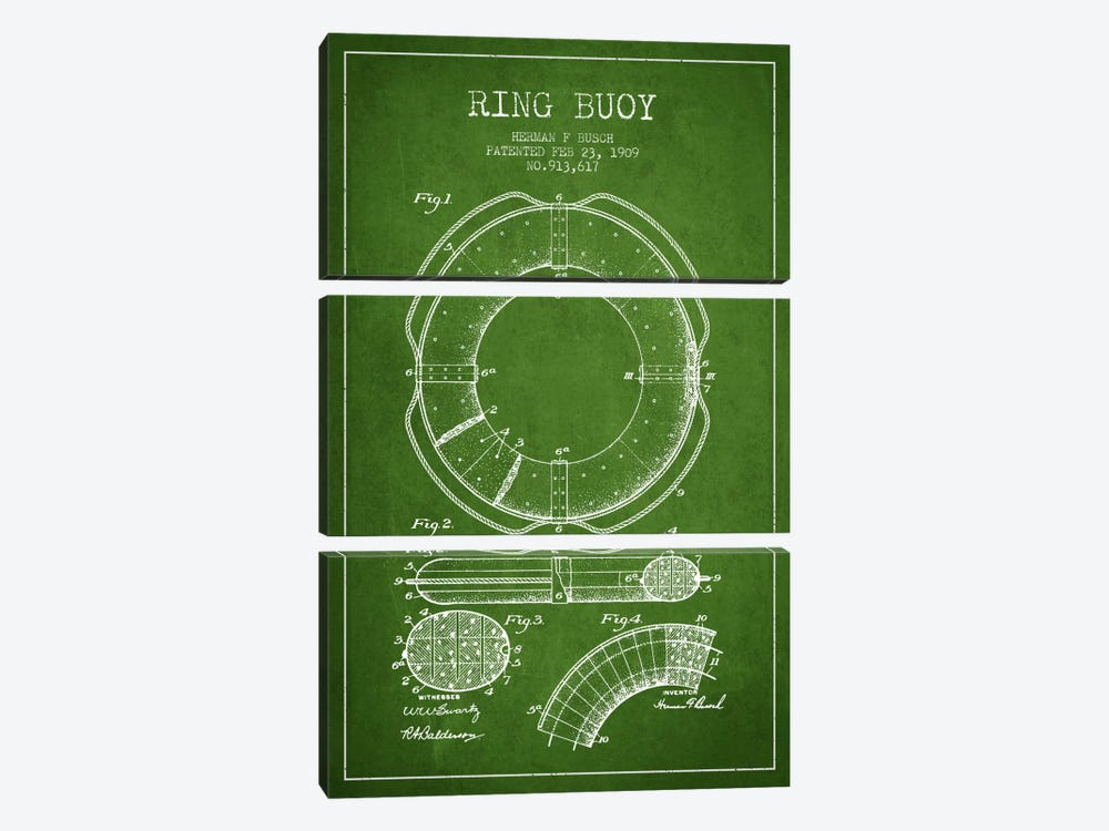 Ring Buoy Green Patent Blueprint by Aged Pixel 3-piece Canvas Wall Art