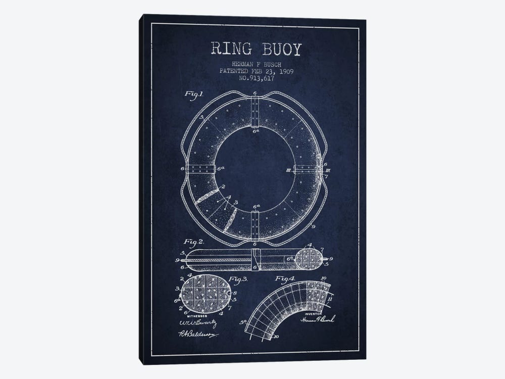 Ring Buoy Navy Blue Patent Blueprint 1-piece Art Print
