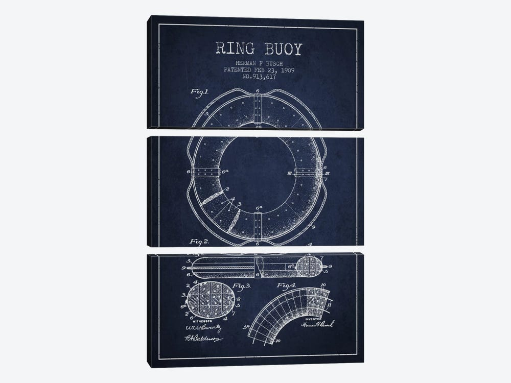 Ring Buoy Navy Blue Patent Blueprint by Aged Pixel 3-piece Canvas Print