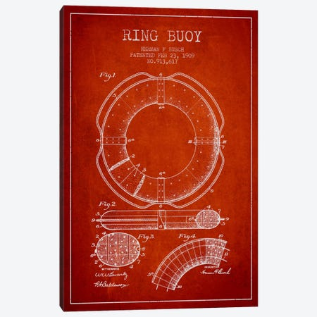 Ring Buoy Red Patent Blueprint Canvas Print #ADP2703} by Aged Pixel Canvas Print