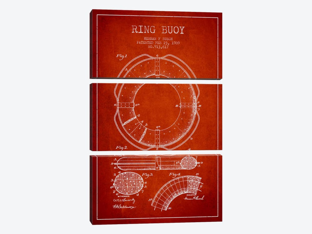 Ring Buoy Red Patent Blueprint by Aged Pixel 3-piece Canvas Art