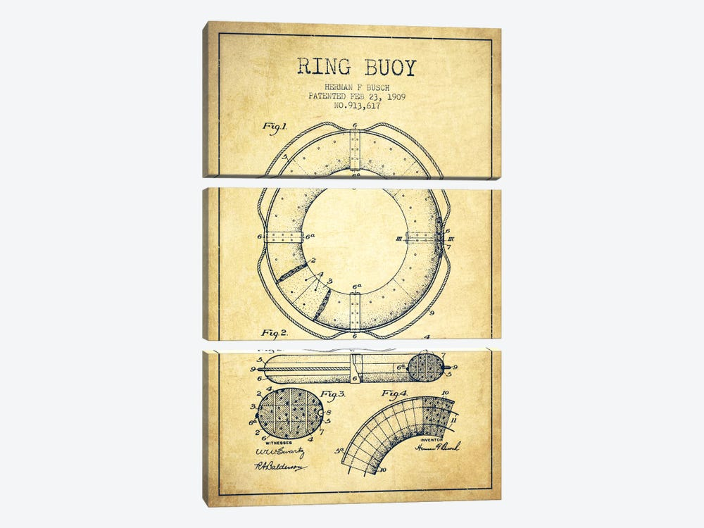 Ring Buoy Vintage Patent Blueprint 3-piece Canvas Print