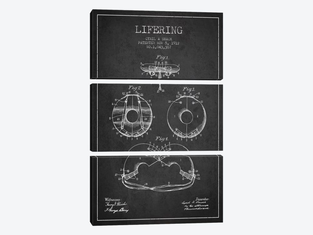Lifering Charcoal Patent Blueprint by Aged Pixel 3-piece Canvas Art