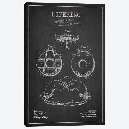 Lifering Charcoal Patent Blueprint Canvas Print #ADP2705} by Aged Pixel Canvas Art