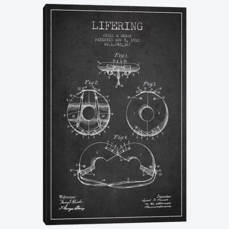 Lifering Charcoal Patent Blueprint Canvas Print #ADP2705} by Aged Pixel Canvas Art