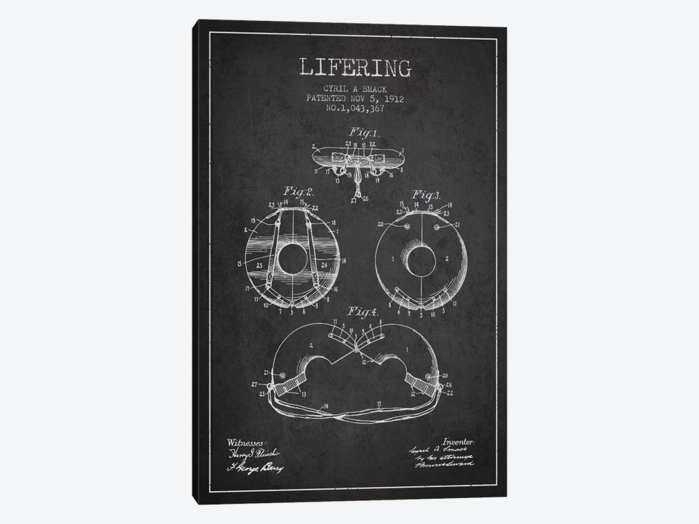 Lifering Charcoal Patent Blueprint by Aged Pixel 1-piece Canvas Wall Art