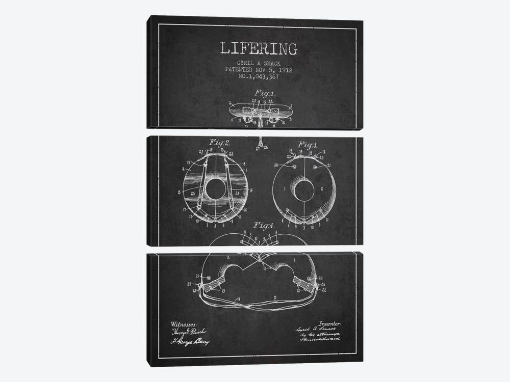 Lifering Charcoal Patent Blueprint by Aged Pixel 3-piece Canvas Art