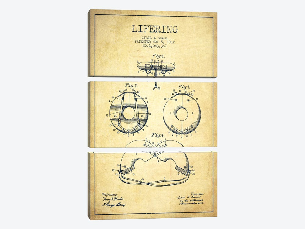 Lifering Vintage Patent Blueprint by Aged Pixel 3-piece Canvas Print