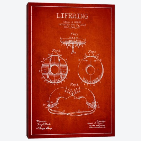 Lifering Red Patent Blueprint Canvas Print #ADP2709} by Aged Pixel Art Print