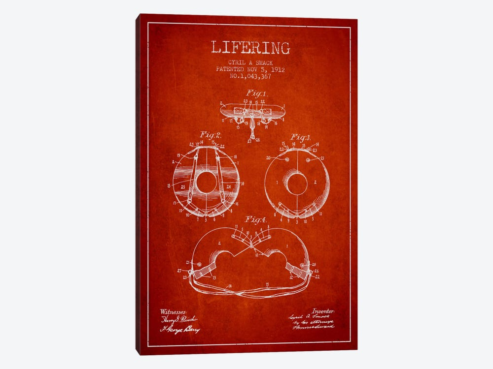 Lifering Red Patent Blueprint by Aged Pixel 1-piece Canvas Art