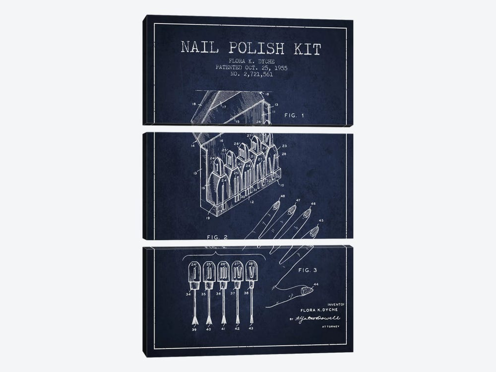 Nail Polish Kit Navy Blue Patent Blueprint by Aged Pixel 3-piece Canvas Print