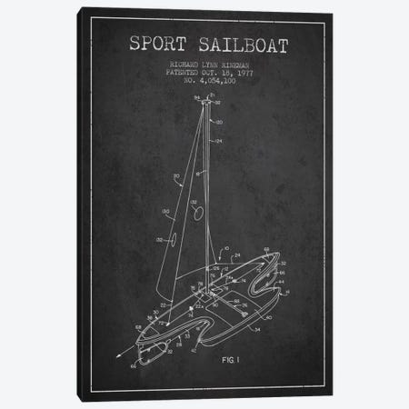 Sport Sailboat 1 Charcoal Patent Blueprint Canvas Print #ADP2710} by Aged Pixel Canvas Art