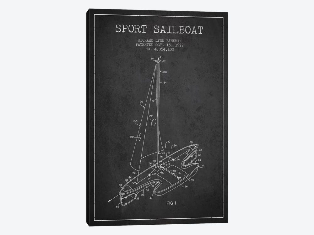 Sport Sailboat 1 Charcoal Patent Blueprint 1-piece Canvas Wall Art