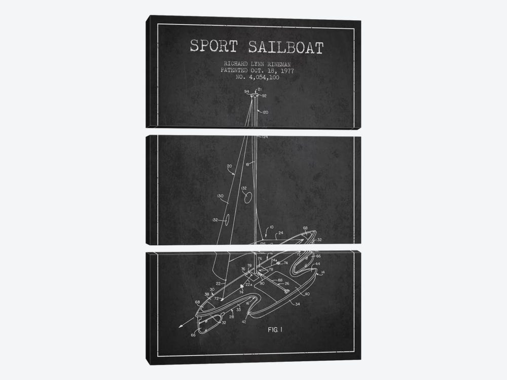 Sport Sailboat 1 Charcoal Patent Blueprint by Aged Pixel 3-piece Canvas Wall Art