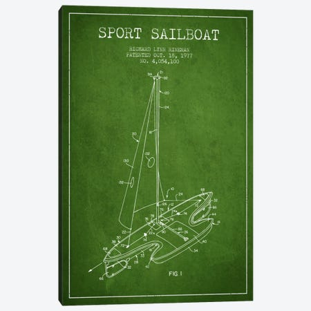 Sport Sailboat 1 Green Patent Blueprint Canvas Print #ADP2711} by Aged Pixel Canvas Wall Art