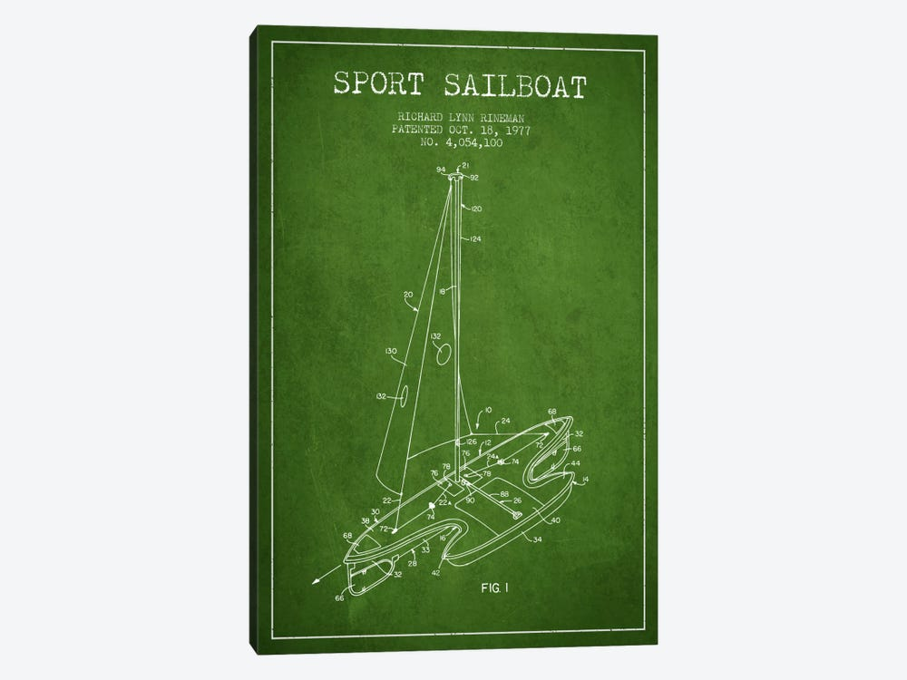 Sport Sailboat 1 Green Patent Blueprint by Aged Pixel 1-piece Canvas Art Print