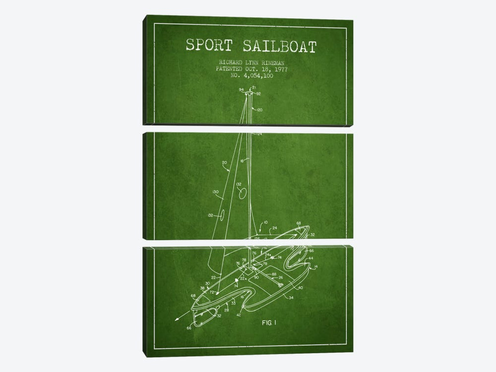 Sport Sailboat 1 Green Patent Blueprint by Aged Pixel 3-piece Art Print