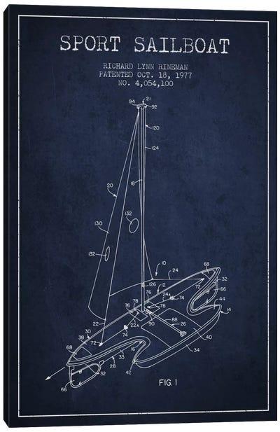 Sport Sailboat 1 Navy Blue Patent Blueprint Canvas Print #ADP2712