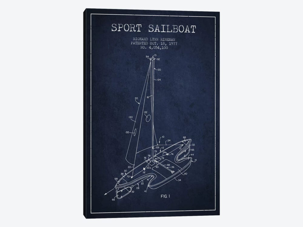 Sport Sailboat 1 Navy Blue Patent Blueprint by Aged Pixel 1-piece Canvas Art