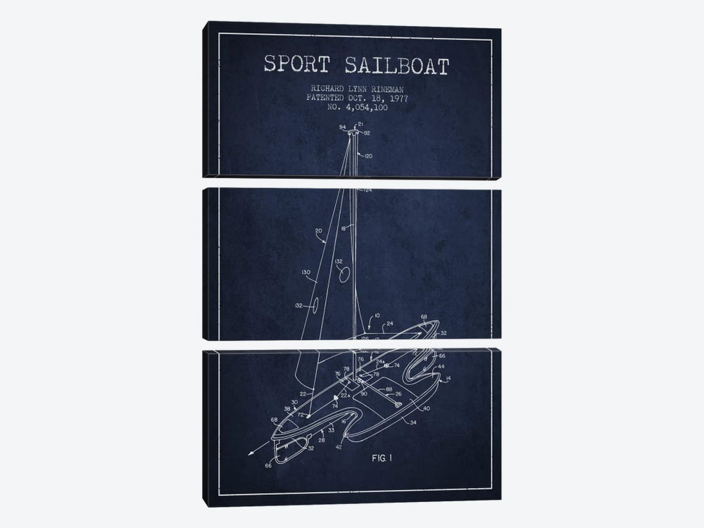 Sport Sailboat 1 Navy Blue Patent Blueprint by Aged Pixel 3-piece Canvas Art