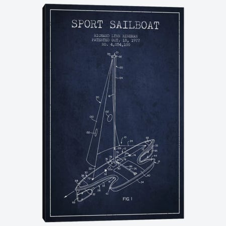 Sport Sailboat 1 Navy Blue Patent Blueprint Canvas Print #ADP2712} by Aged Pixel Canvas Artwork
