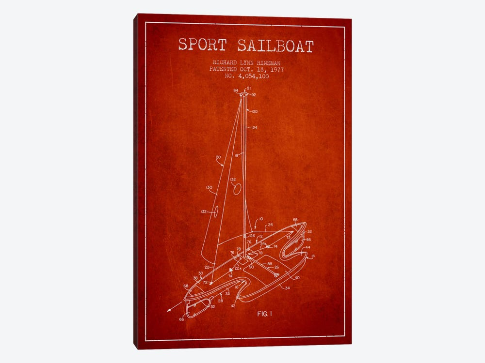 Sport Sailboat 1 Red Patent Blueprint by Aged Pixel 1-piece Art Print