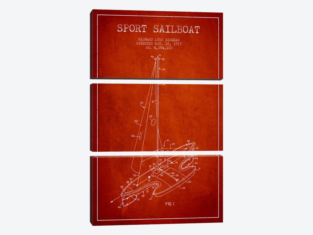 Sport Sailboat 1 Red Patent Blueprint by Aged Pixel 3-piece Canvas Print