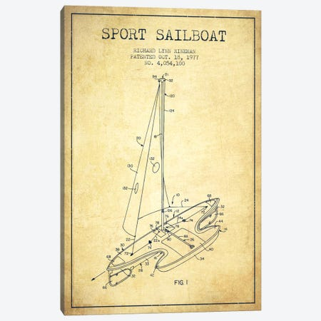 Sport Sailboat 1 Vintage Patent Blueprint Canvas Print #ADP2714} by Aged Pixel Art Print