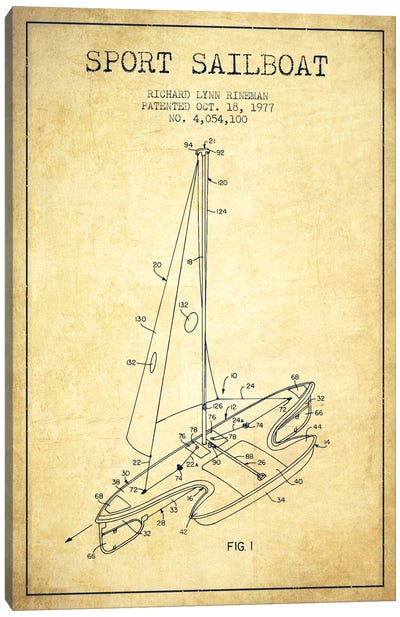Sport Sailboat 1 Vintage Patent Blueprint Canvas Print #ADP2714