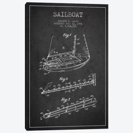Sailboat 4 Charcoal Patent Blueprint Canvas Print #ADP2715} by Aged Pixel Canvas Print