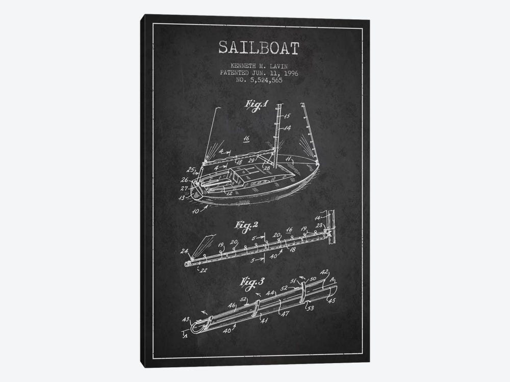 Sailboat 4 Charcoal Patent Blueprint by Aged Pixel 1-piece Art Print