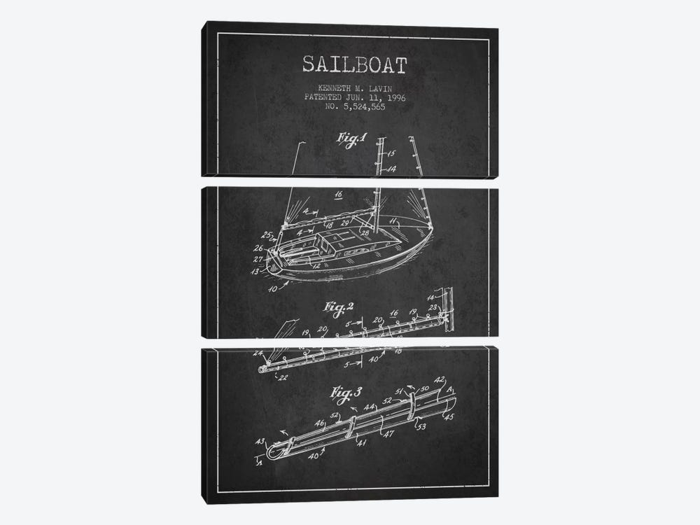 Sailboat 4 Charcoal Patent Blueprint by Aged Pixel 3-piece Canvas Art Print
