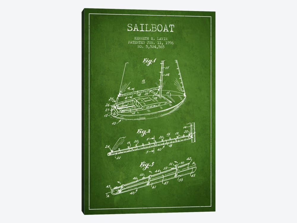 Sailboat 4 Green Patent Blueprint by Aged Pixel 1-piece Canvas Wall Art